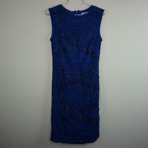 JS Collections Womens Blue Soutache Sleeveless